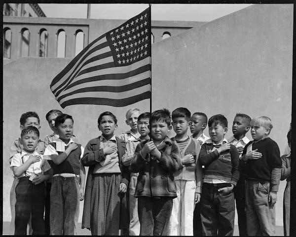 Children Pledging Allegiance at Amache WRA relocation camp
