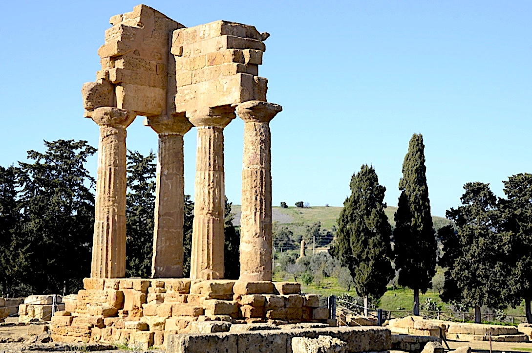 The Temple of Dioscuri in The Valley of the temples Agrigento Sicily Italy