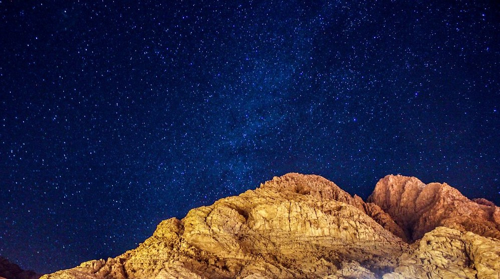 Mt Sinai and its brilliant night sky filled with stars