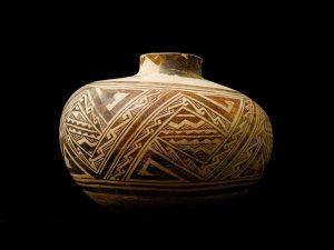 Anasazi black and white pottery jug Canyon of the Ancients Colorado