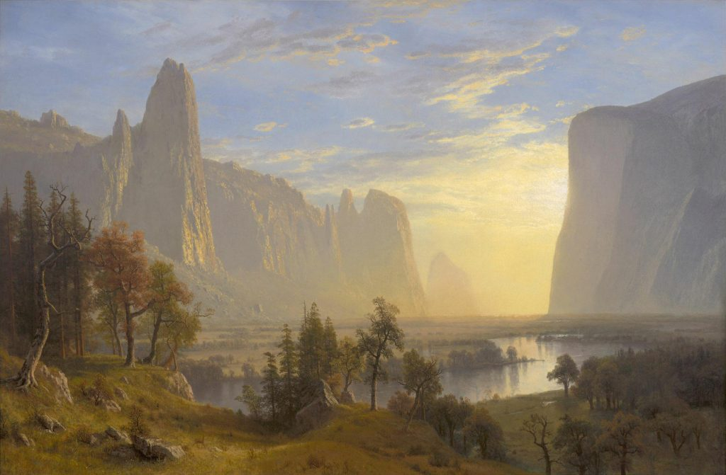 Albert Bierstadt German American artist painting of Yosemite Valley an example of artist and conservation of places