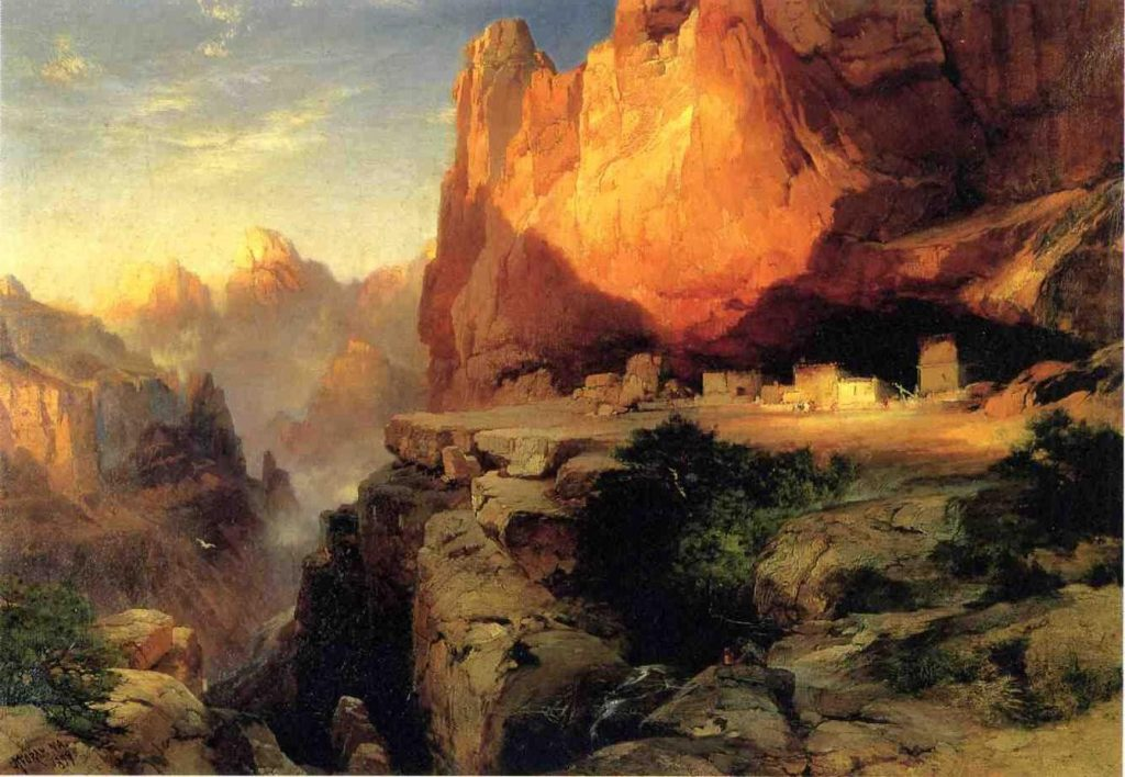 Cliff Dwellers 1894 oil painting by Thomas Moran Artists and conservation contribute to the National Parks