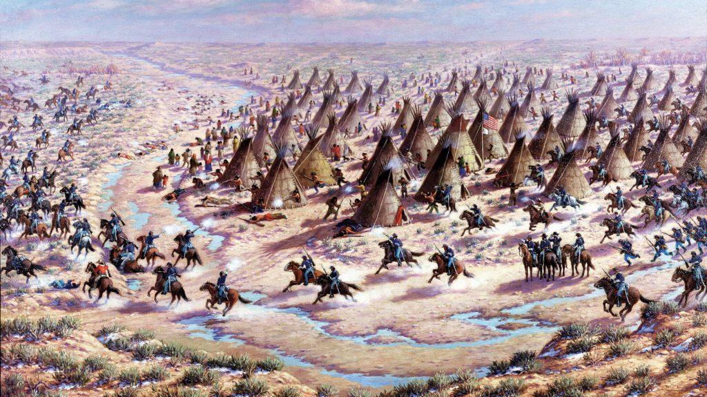 art depicting The Sandcreek Massacre in Colorado