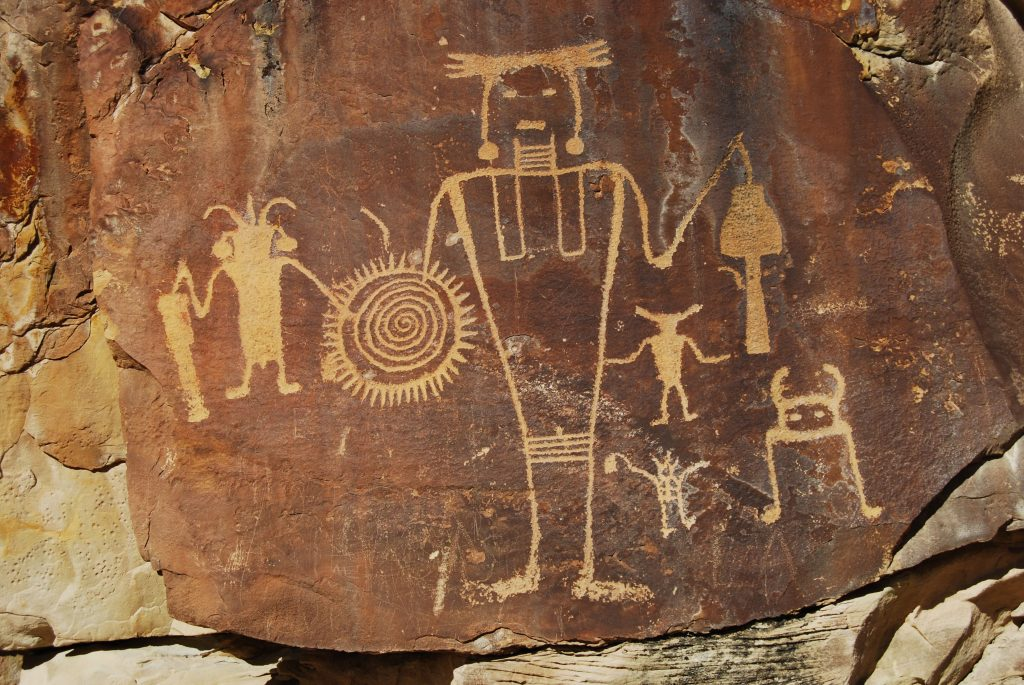 McKee Springs Petroglyphs, Fremont culture rock art panel, Island Park Road, Dinosaur National Monument, Utah