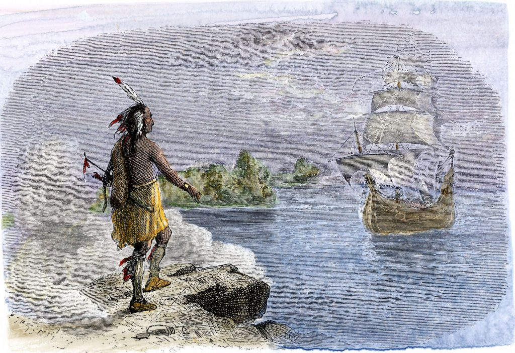 White settlers arrive in American and take Native American Lands