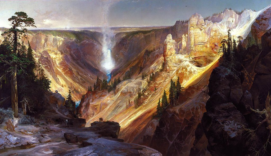 Thomas Moran Painting Grand Canyon of the Yellowstone in the Smithsonian Department of the Interior.  Artists and conservation contribute to the National Park system located in the Smithsonian