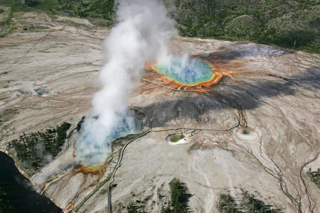 Aerial view of Excelsior Geyser and Grand Prismatic Spring in Midway Geyser Basin; Jim Peaco; June 22, 2006; Catalog #20386d; Original #IT8M4075