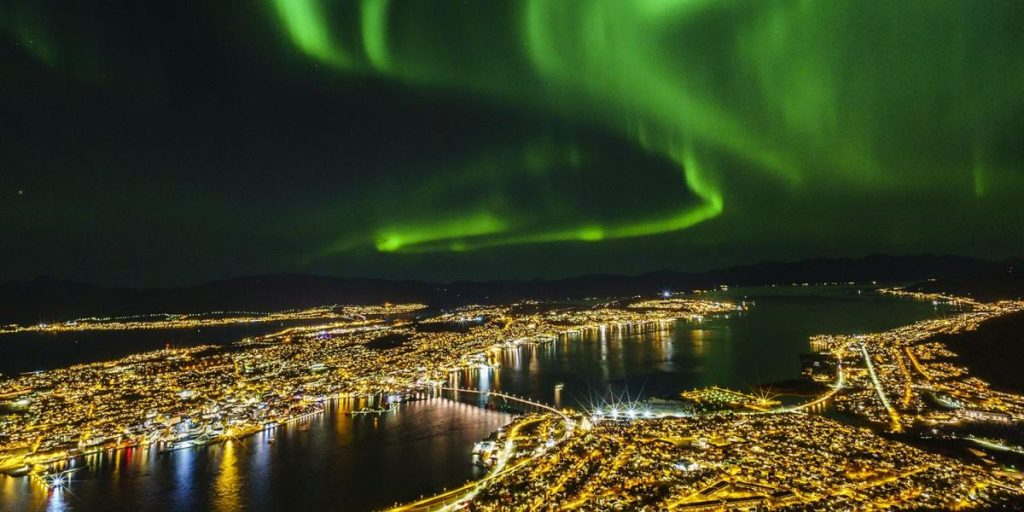 Northern Lights in Tromso Norway showing colors in nature