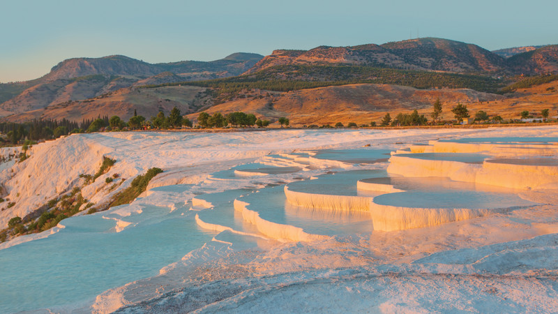 Pamukkale Hot Spring Terraces in Turkey color in nature